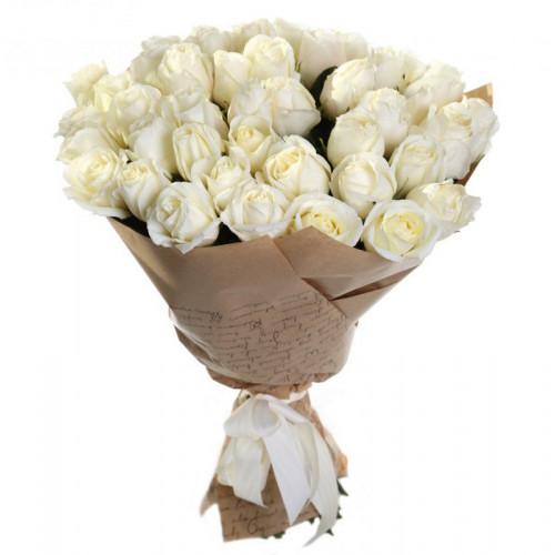 Купить на заказ Букет из 35 белых роз с доставкой в Зайсане