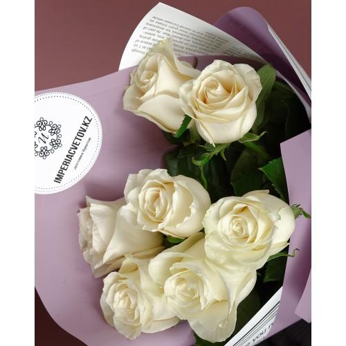 Купить на заказ Букет из 7 белых роз с доставкой в Зайсане