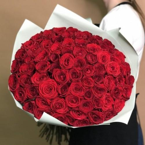 Купить на заказ Букет из 75 красных роз с доставкой в Зайсане