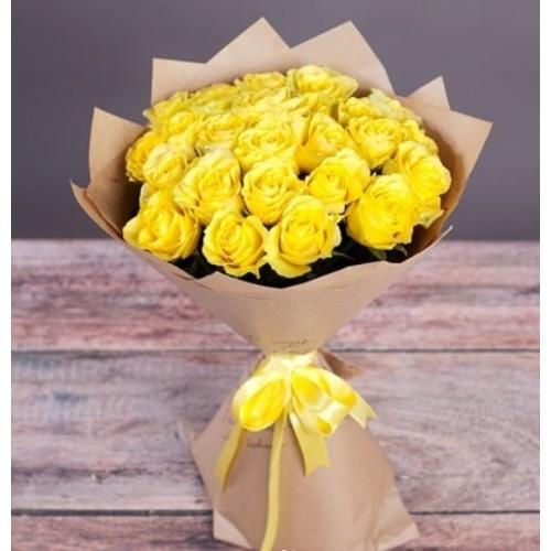 Купить на заказ Букет из желтых роз с доставкой в Зайсане