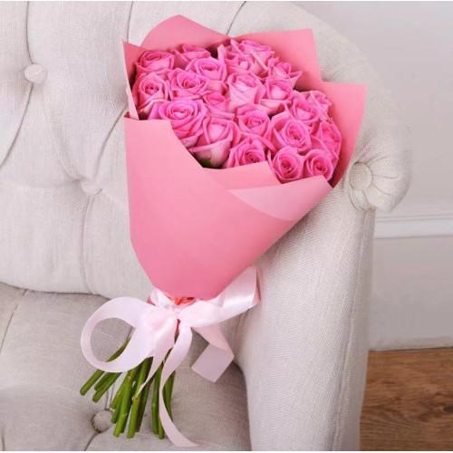 Купить на заказ Букет из 21 розовой розы с доставкой в Зайсане