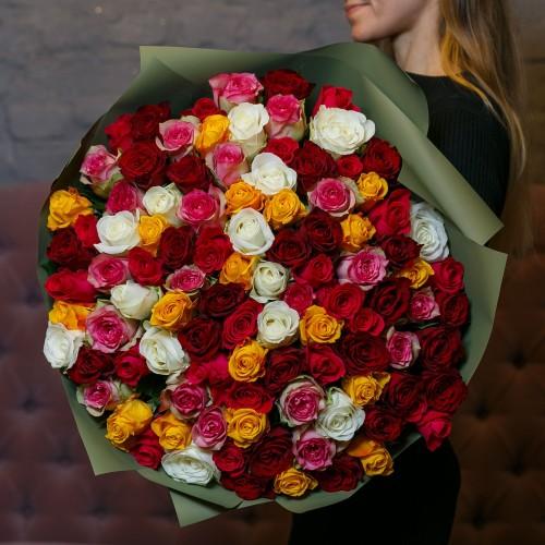 Купить на заказ Букет из 101 розы (микс) с доставкой в Зайсане